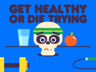 Get Healthy Or Die Trying fitness vector gif character design animated animation branding graphic design illustration