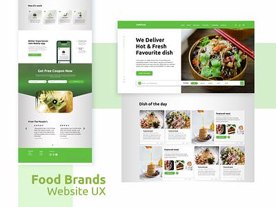 Food Brands UX wen design food delivery foodies food and drink food shop food xd design ux web design concept clean color