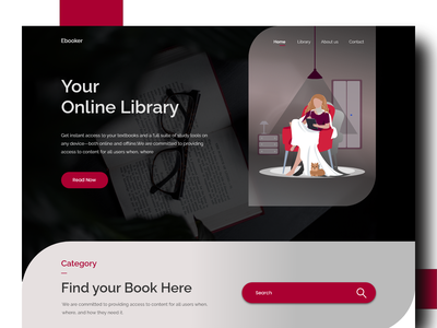 E-book Shop library graphic design education website uiuxdesign ebook design ebook layout onlinebook book booking bookshop ux ui xd design branding website design design concept clean color