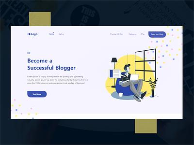 Landing Bloger | Ebook | Newsagency ebook design illustration branding 2020 trend aplications ux website design xd design design concept clean color