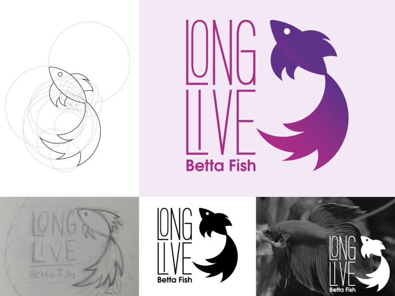 LONG LIVE BETTA FISH fish betta identity logo design logo