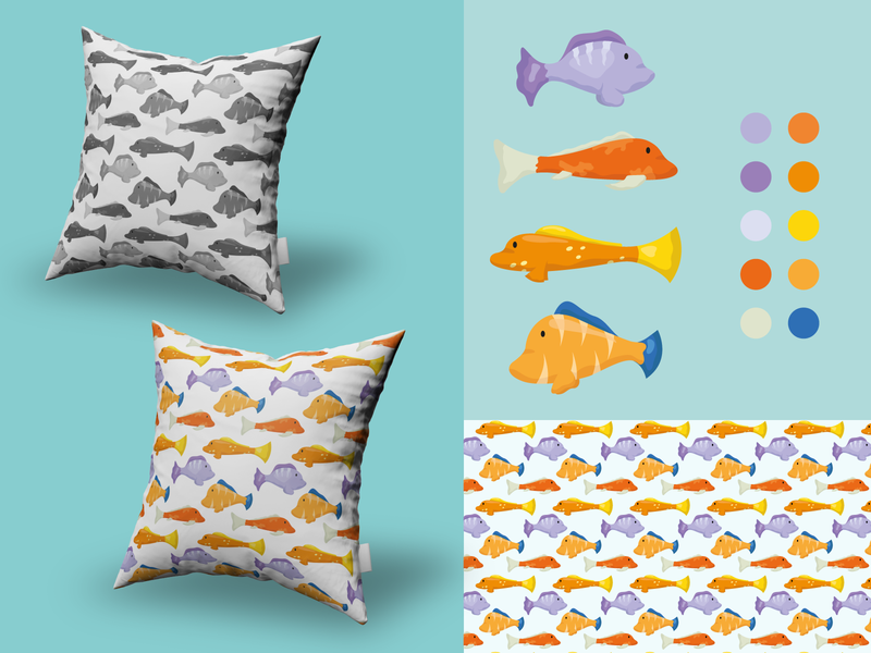 De Pesca! pillow texture patterns vector logo design diseño