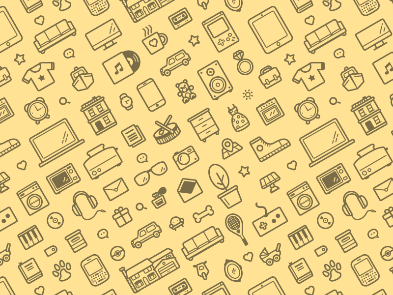Everyday stuff pattern repeatable pattern icons background