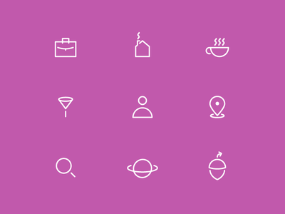 Icons for Acorn, a location-based messaging app.