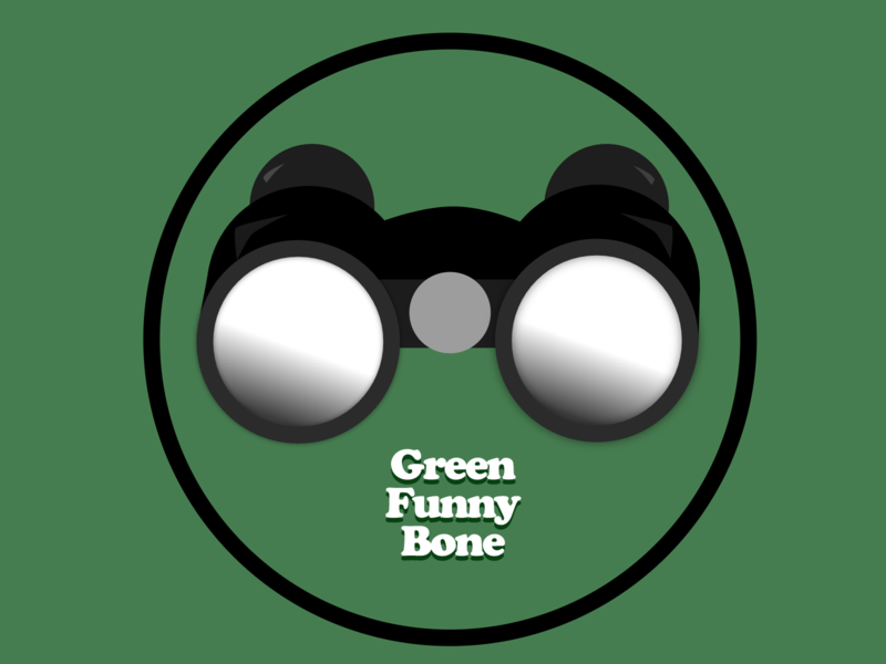 Green Funny Bone Logo travel typography icon branding logo illustration design