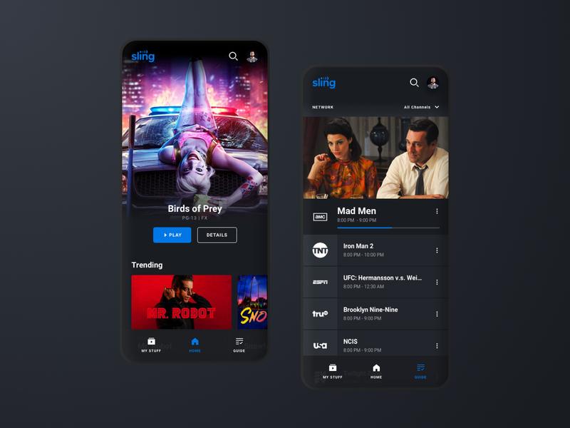 Sling App Redesign tv app movie app ux ui mobile app streaming tv sling