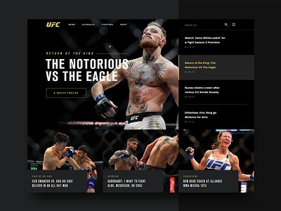 UFC Homepage Concept fighter mma typography ux ui news redesign branding design web conor mcgregor ufc