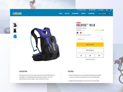 Camelbak.com Product details bottles packs ui ux brand design mountain bike camelbak web ecomm ecommerce