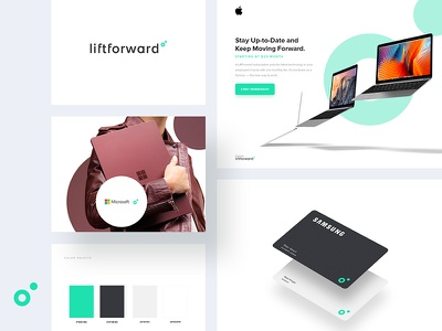Liftforward Unused Concept Boards style guide brand boards unused logo circle cards web landing page hardware technology b2b branding