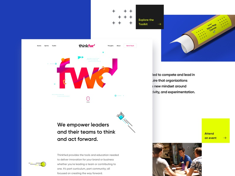 Thinkfwd Home conference education illustration typography landing page web branding