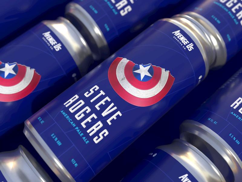 Captain Rogers APA marvel packagedesign can art adobe dimensions 3d beer branding captain america avengers beer branding