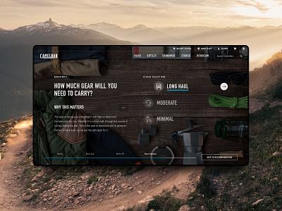 CamelBak Product Selector hiking outdoors camelbak app typography landing page ecommerce web ui branding