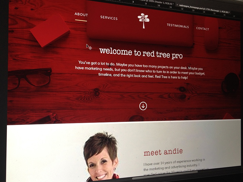 Red Tree Pro design responsive web design red tree pro single page homepage website web mockup photoshop rwd minimal
