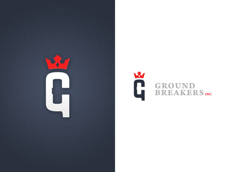 Ground Breakers Inc Logo logo crown g hammer royalty negative space branding brand leadership ground breakers inc graphic design