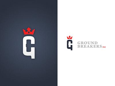 Ground Breakers Inc Logo logo crown g hammer royalty negative space branding brand leadership ground breakers inc graphic design