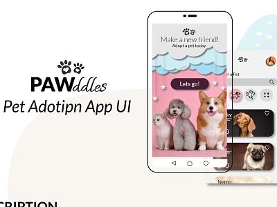 Pet adoption mobile App UI photoshop ux design typography illustration adobe illustrator adobe photoshop adobe xd mobile app design app design app mobile ui minimal ui