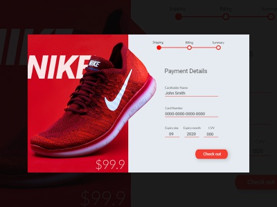 Daily UI Challenge day 2 - credit card checkout page UI branding app design app design dailyui 002 adobe xd ui design designer nike ui  ux ui adobe photoshop adobexd daily 100 challenge dailyuichallenge dailyui