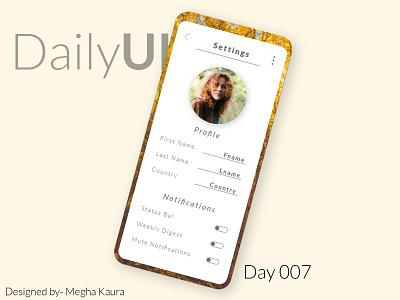 dailyUI Challenge day 7  App Setting UI adobe photoshop cc adobe illustrator adobexd design app minimal dailyuichallenge daily ui daily 100 app design dailyui adobe photoshop ui daily 100 challenge adobe xd