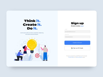 Sign in Mockup website ux ui design