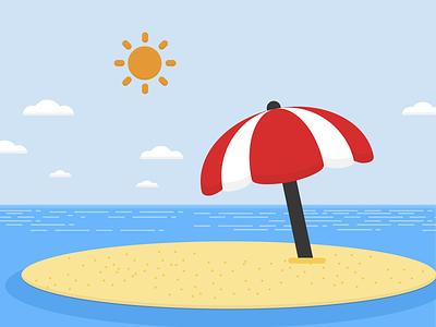 Tiny umbrella on island 🏖 design 20scoops sunny sea flat vector illustration