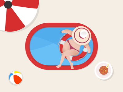 Girl and Summer girls summer bikinis sunny icon design illustration flat 20scoops