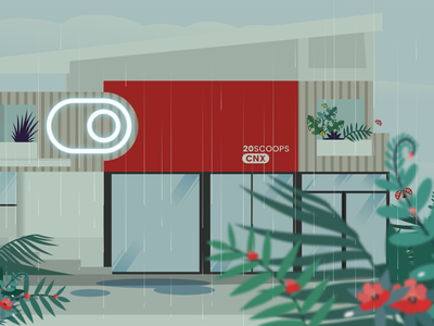 20Scoops CNX in a Shower Day rainy office raindrops vector illustration 20scoops design