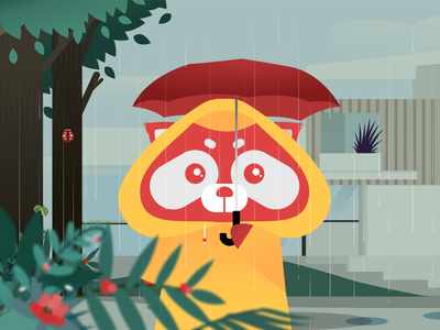 The First Mascot of 20Scoops CNX creative wet raincoat yellow red panda redpanda mascot character cooper cnx branding raindrops vector illustration 20scoops design