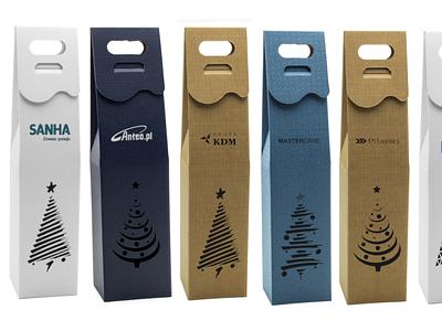 Opakowanie świąteczne na wino. gifts logo christmas wine