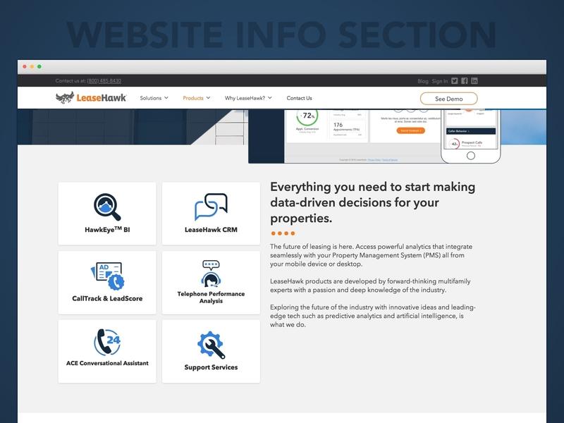 LeaseHawk.com Product Section website content product section ui design website