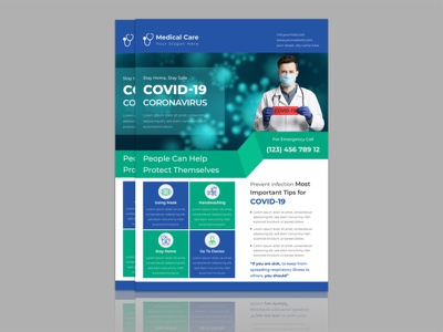 Creative Coronavirus Covid-19 Flyer Design Template medical design clinic flyer medical healthcare doctor flyer design covid19 flyer vector design covid19 flyer