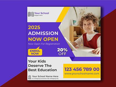 Customizable School Admission Design Template vector banner design illustration branding social media design social media poster design flyer design design ads design