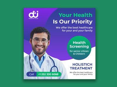 Medical health social media post or square flyer template doctor medical design vector illustration flyer design poster design