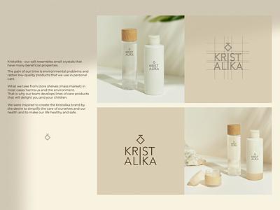 Kristalika ukrainian brand of eco-friendly cosmetics cosmetics product identity label packaging salt eco cosmetics minimalism branding typography logo graphic design