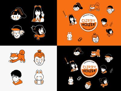 "Identity for Japanese restaurant ""Curry House"" sticker vector japanese curry japanese restaurant logotype identity illustration character logo branding graphic design"