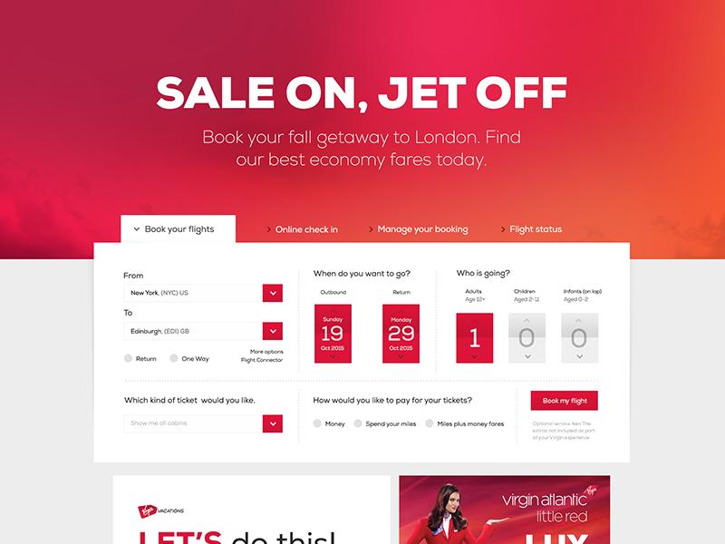Virgin America Web UI Redesign ui web flat design concept virgin redesign ux interface red color