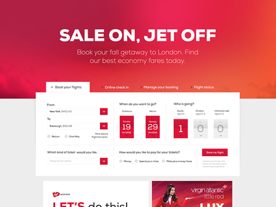 Virgin America Web UI Redesign ui web flat design concept virgin redesign ux interface red color
