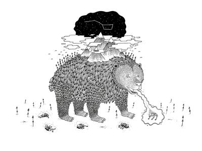 Ursa Major ursa major constellation animal celestial bear drawing illustration