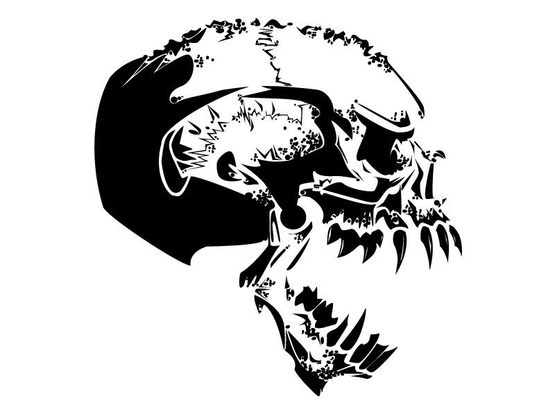 Jagged Skull workout gym crossfit badass black and white t-shirt bones design skull