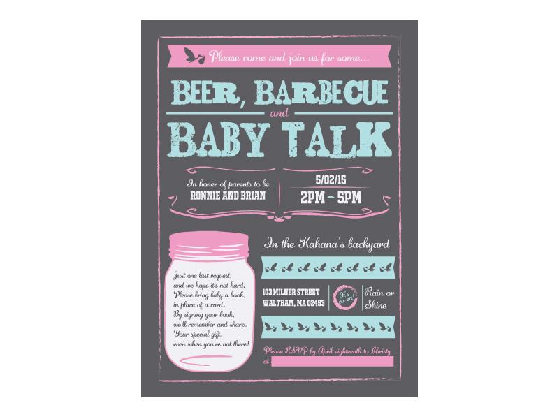 Baby Shower Invite co-ed bbq party stork mason jar card barbecue invitation invite baby shower shower baby