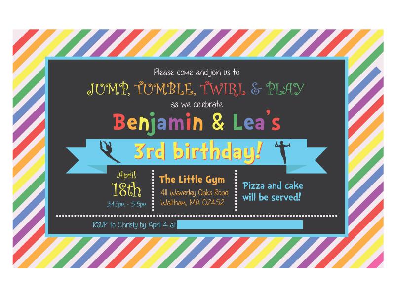 Gymnastics Bday Invite rainbow color pallete children kids card invite invitation birthday gymnastics