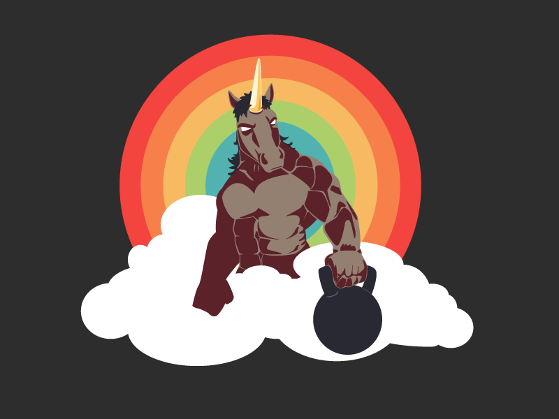 Unicorns 'n' Rainbows crossfit gym muscle horse badass illustration kettlebell graphics t-shirt rainbow color pallete unicorn