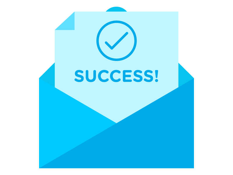 Success message graphic letter clean flat minimal submit checkmark message success envelope