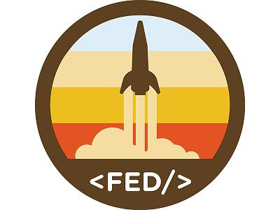 Fed Team Badge jet flying code space rocket takeoff rocket ship flat badge