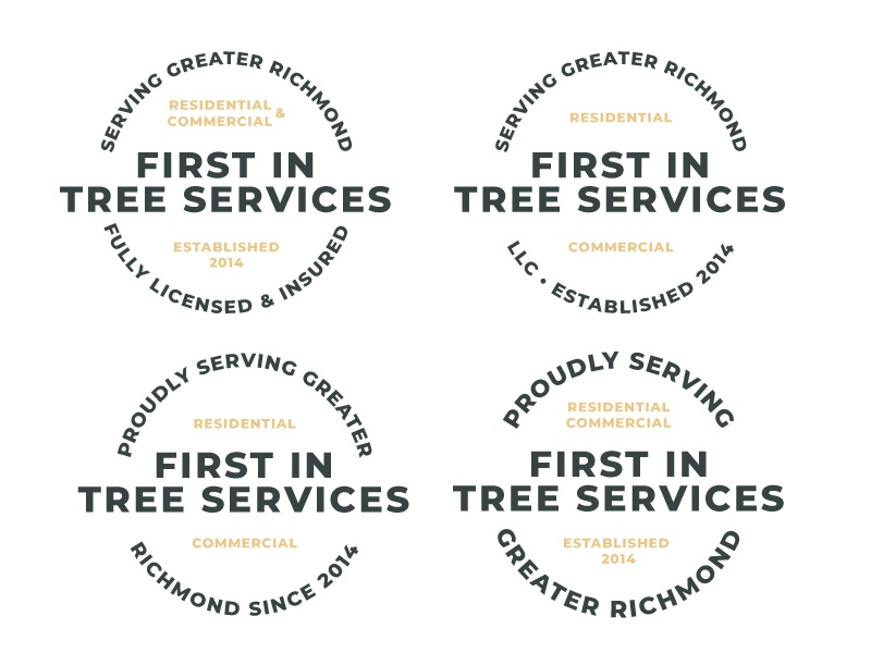 Text Only Badge text branding circle logo logo trees text only badge