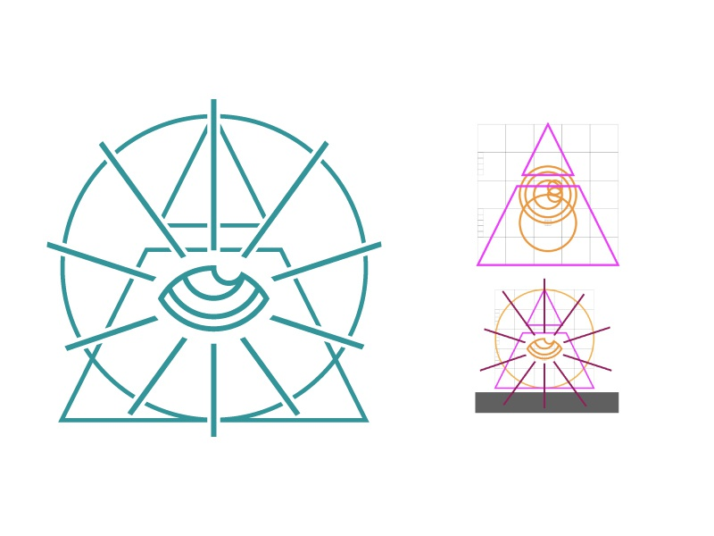 Pye-ramid line art all seeing eye triangle pyramid