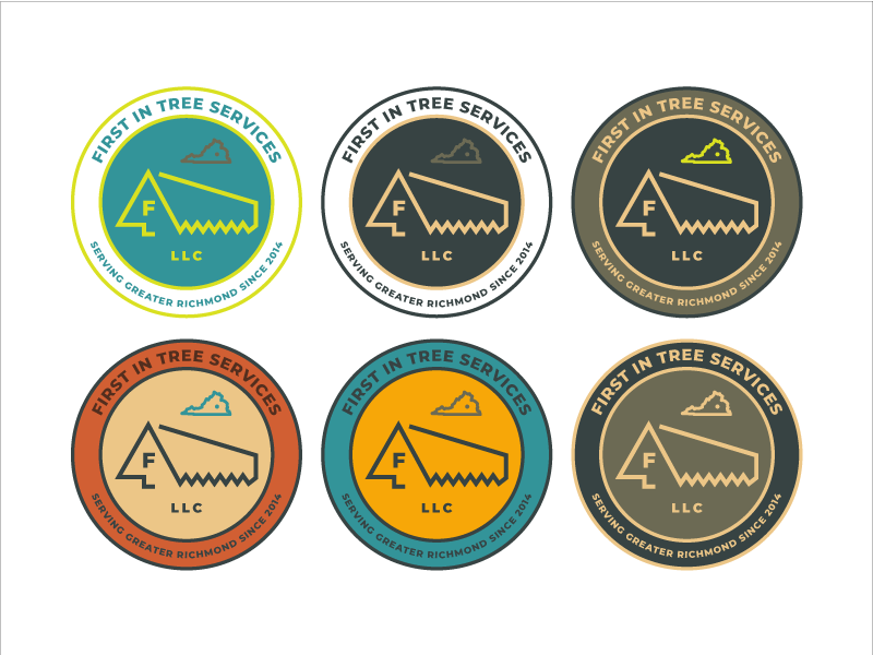 First In Badge color palette emblem seal service logo outdoors tree badge