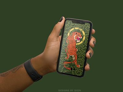 Custom Wallpaper Illustration - Eye of the Tiger illustrator flat minimal vector illustration design
