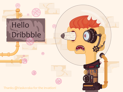 Hello Dribbble! vector hello dribbble vector art character illustration illustrator