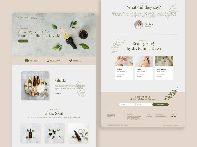 Rahaskin Beauty Skincare — E-Commerce web flat design website web designer web design ux ui landing page design landing page