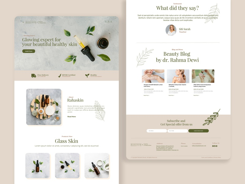 Rahaskin Beauty Skincare (White Version) — E-Commerce branding web flat design website web designer web design ui ux landing page design landing page